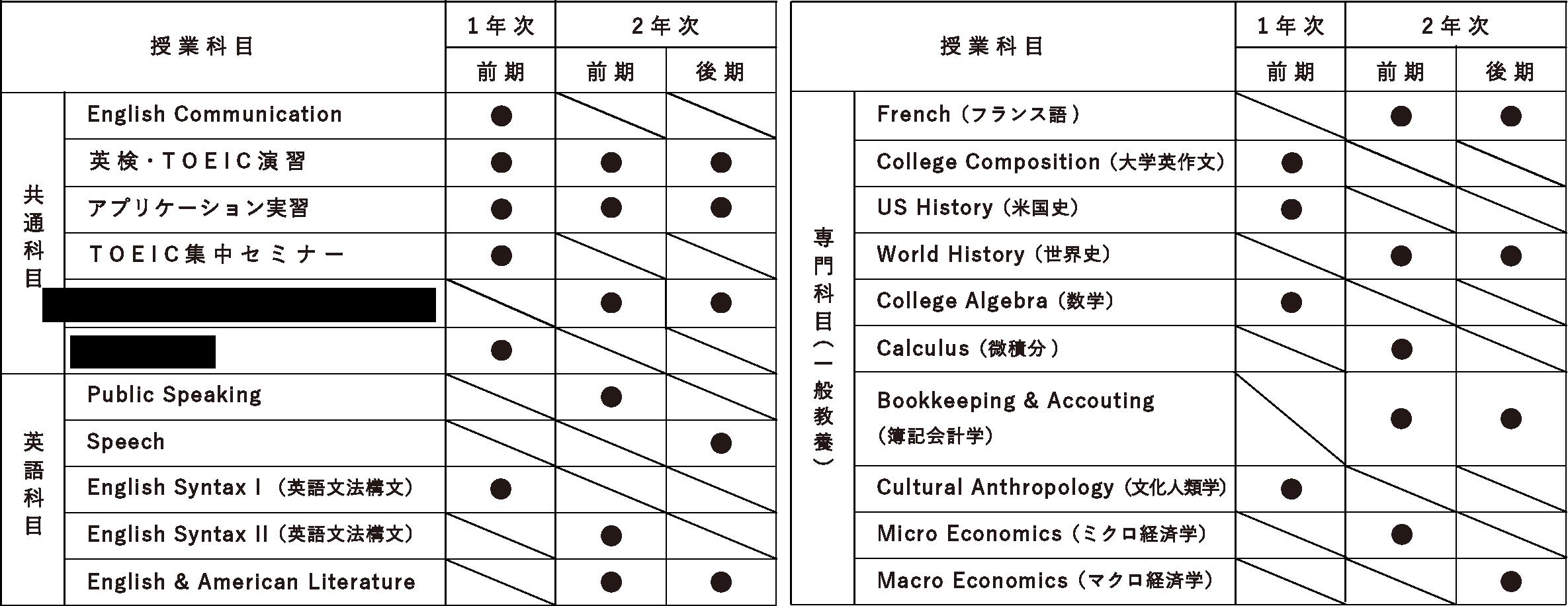 1年次後期アメリカ大学編入コースカリキュラム